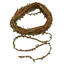 1 Roll 10m Green Leaf jute Wire Artificial Flower Vine Ivy Rattan For Wedding Party Decoration DIY Silk Garland Wreath Flowers