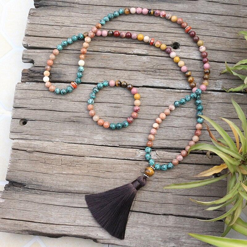 8mm koraliki z kamienia naturalnego, Rhodrochrosite, kamień słonecznikowy, Mookaite, JapaMala zestawy, biżuteria duchowa, medytacji, inspirujące, 108 Mala koraliki