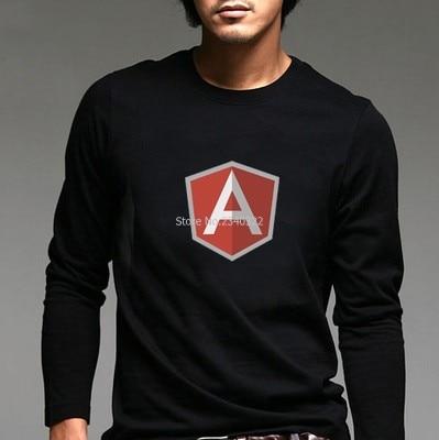 Masculino trajes personagem google AngularJS longo-sleeved T-shirt outono primavera ele fãs Angular JS camisa de manga cheio T