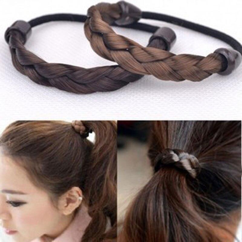 Moda feminina peruca elástica faixas de cabelo para meninas preto marrom cabelo corda scrunchie rabo de cavalo titular cabeça usar acessórios de cabelo