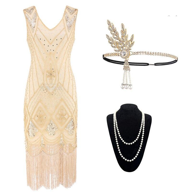 1920s feminino vestido de lantejoulas arte deco flapper vestido e acessórios gatsby festa noite lantejoulas plus size franjas vestido