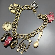 Fairytale Vintage Gold Red Aries Ram Zodiac Tea Parrot Watch Link Chain Charm Viking Bangle Bracelet Jewelry bijoux Heart