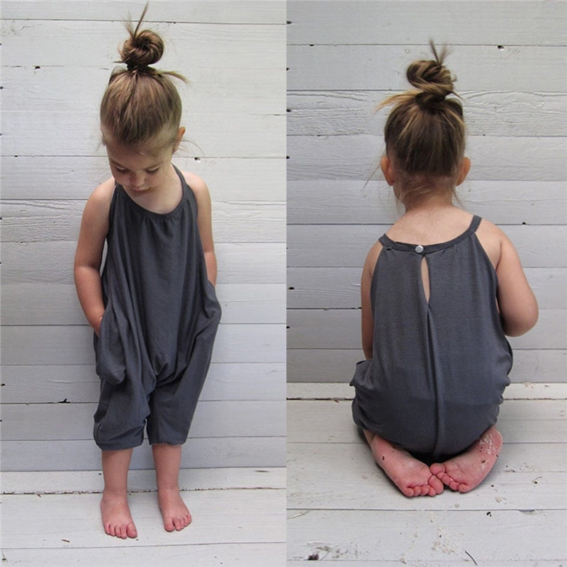 Летняя детская одежда для детей 2-8 лет, новинка 2018, детский комбинезон без бретелек с лямкой на шее для маленьких девочек, лидер продаж, серый...