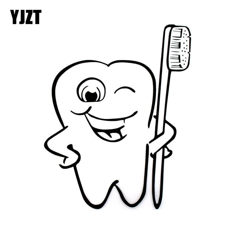 14.8cm*18cm Cartoon Funny Care Decal Tooth Vinyl Car-styling Car Stickers Black/Silver C5-3010