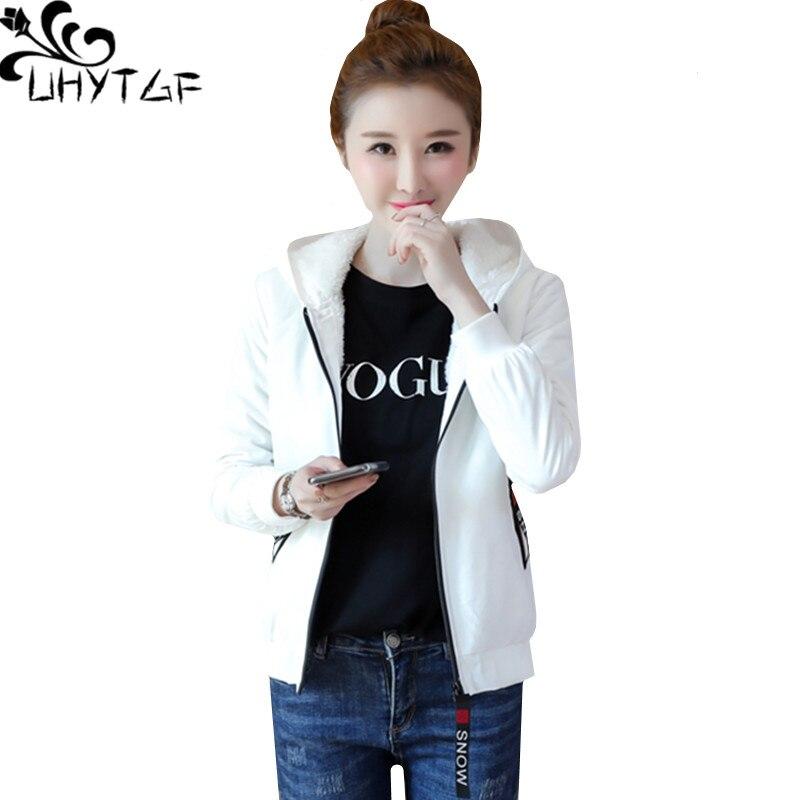 UHYTGF Mulher primavera casacos Com Capuz parkas curtas mulher Moda Coreano além de veludo quente outerwear tamanho mais Solto jaqueta de Algodão 499