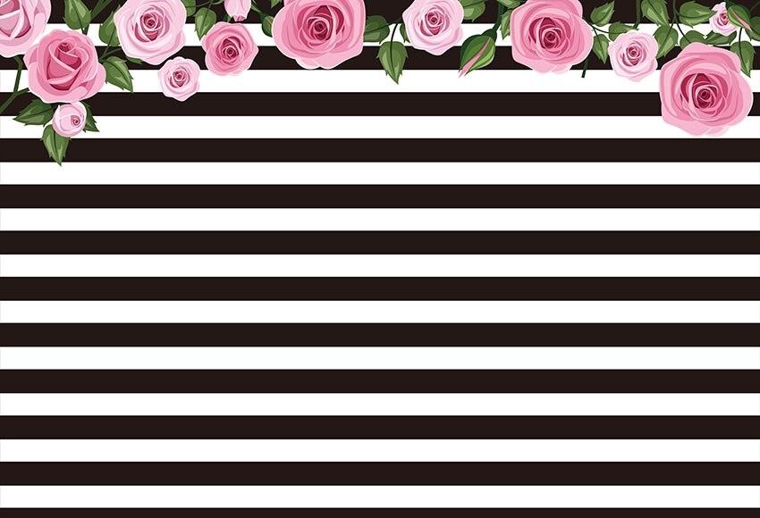 Fondo de vinilo de rayas blancas negras para fotografía Floral decoración Feliz cumpleaños bebé foto estudio
