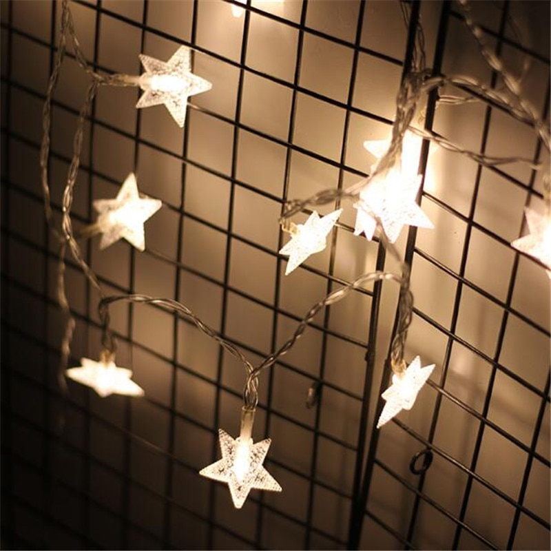 7.5 m 50 Leds Em Forma de Estrela LED Luzes Cordas de Fadas Do Bebê Home Decor Iluminação Para Festa de Natal Decoração