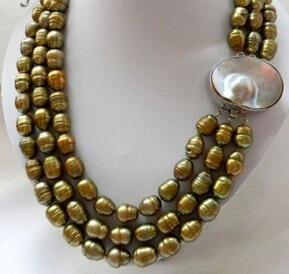 ENVÍO LIBRE >>>@@> N3567 3 Filamentos de Agua Dulce de Arroz Perla MABE Collar Del Corchete