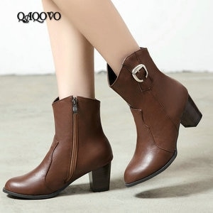 2019 Women Western Cowboy Boots Comfort Square High Heels Ankle Boots Autumn Winter Zipper Boots Ladies Shoes Big Size 34-44