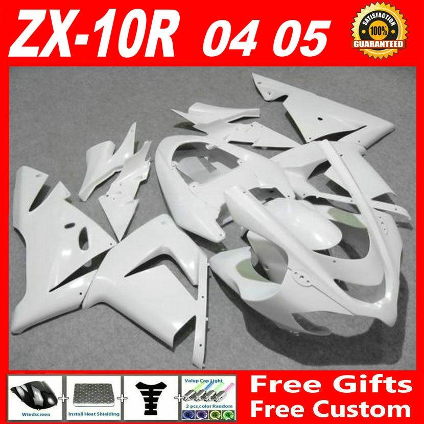Livre para personalizar 2004 2005 carenagens Kawasaki ZX10R 04 05 ZX-10R carenagem ABS plástico todo branco definir UHN86 + capa tanque