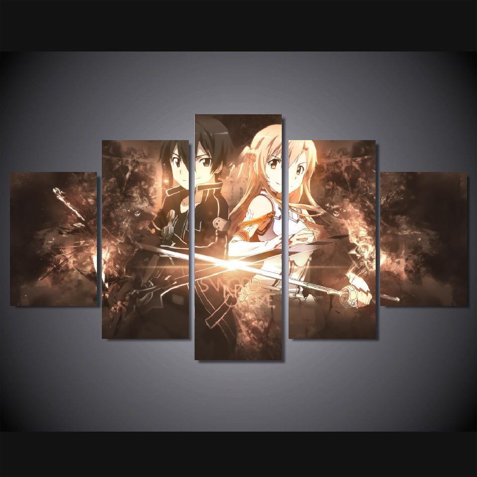 Lienzo de 5 piezas, cuadros de dibujos animados, diseño de espada de Anime, arte en línea, decoración de habitación Kirito y Asuna, póster impreso, arte de pared enmarcado