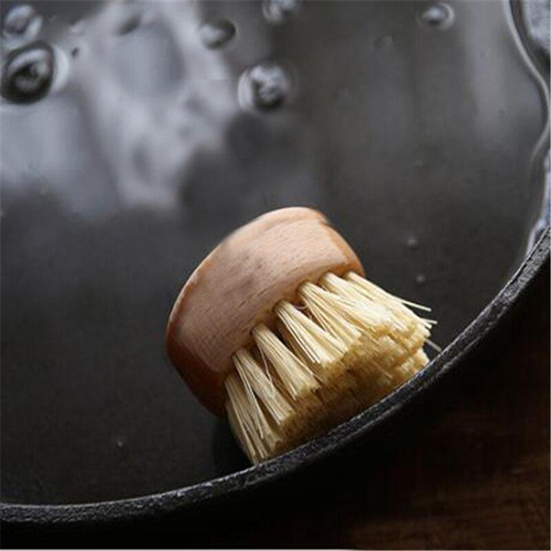 Récurer résistant à la chaleur Pot de lavage brosse bol outil de nettoyage de vaisselle Durable poêle manche en bois fournitures de cuisine