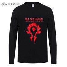 Autumn WOW For The Horde Men T Shirt Men Boy  T-shirt  Long Sleeve High Quality Cotton Dota 2 T Shirts Tops Tees