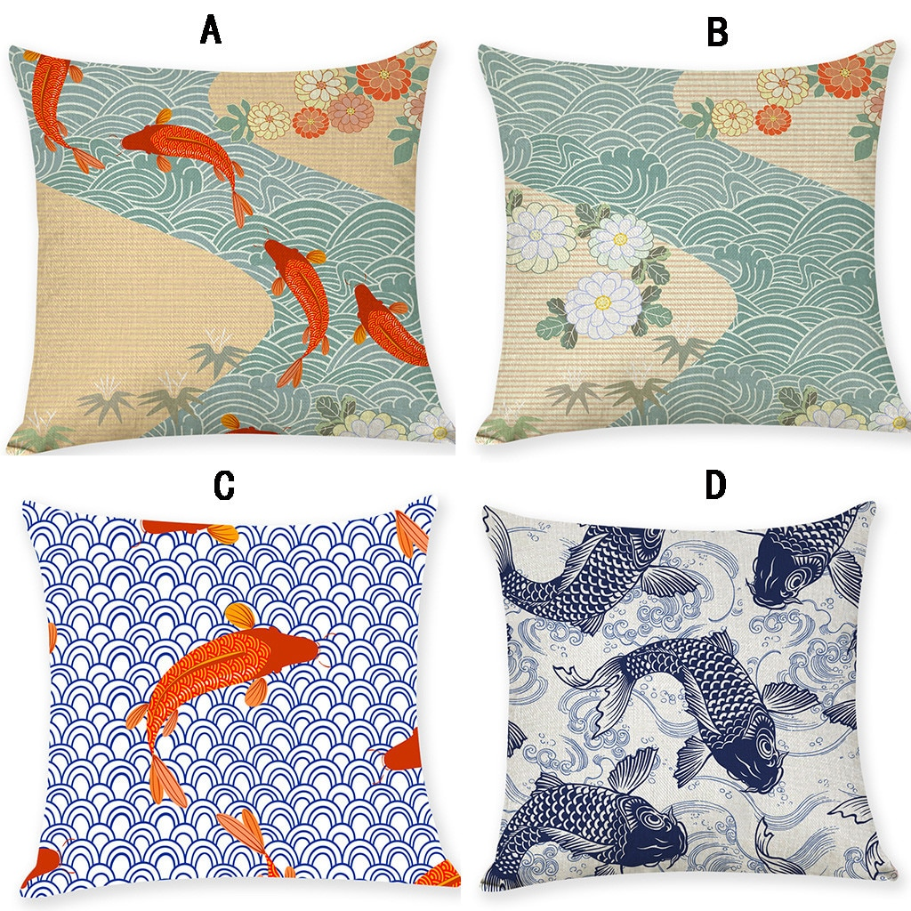 Fundas de almohada Lisas para decoración del hogar 2019 serie de peces 45x45cm almohada de lino funda de almohada decorativa para el hogar # C