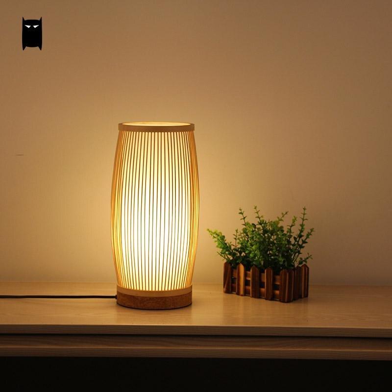 Ronde Bamboe Rieten Rotan Emmer Tafellamp Armatuur Minimalistische Aziatische Japanse Tatami Bureaulamp Abajour Armatuur Thee Bed Room