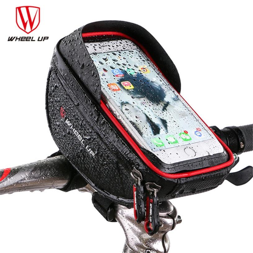 WHEEL UP Cycling Pouch Cellphone Bag Rainproof Bicycle Front Top Frame Handlebar Bag TPU Touch Screen Bike Bag 6.0 Inch MTB