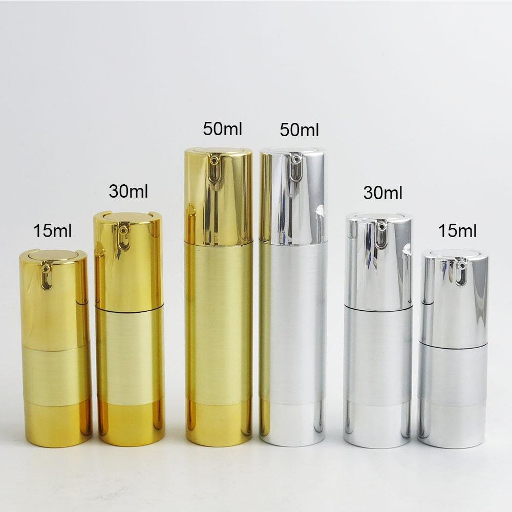 300x15 مللي 30 مللي 50 مللي الألومنيوم مضخة جافة للغسول زجاجة 1 أوقية حاوية خالية من الهواء 30 مللي غسول الرش التعبئة والتغليف الذهب والفضة اللون
