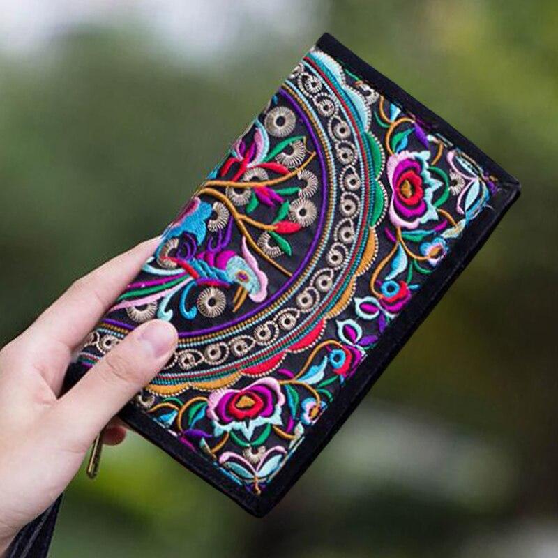 2018 étnico Boho bordado Floral larga Cartera de regalo de alta calidad de la marca de mezcla de algodón cartera femenina nacional Retro bolso de hombro