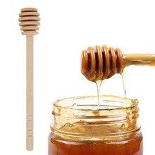 1pc Eco-Friendly Honey Jar Supplies Kitchen Gadget Durable Wooden Honey-stirring Spoon Long Handle Honey Milktea Dipper Stick