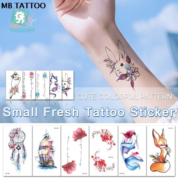 MB nueva flor Aniaml transferencia tatuaje pegatinas mujeres arte corporal para hombres tatuaje temporal hermosa chica pecho cintura tatuaje gran oferta