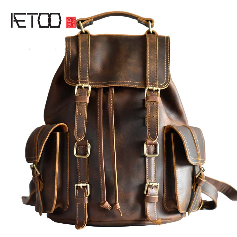 AETOO 원래 디자인 가죽 손 가방 유럽과 미국의 추세 복고풍 남성 Baotou 미친 말 가죽 레저 배낭