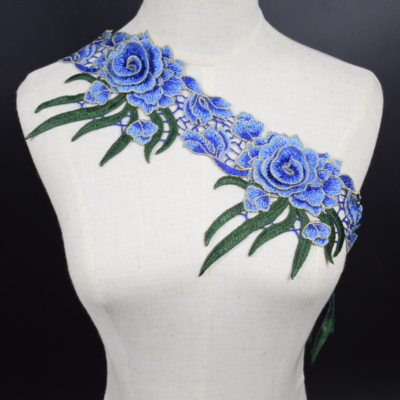 Aplique de flor de encaje azul 3D embellecedor de malla para accesorios de Ropa Decoración coser en tela de encaje