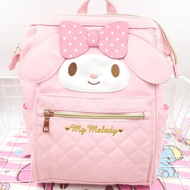 Nueva mochila de My Melody genuina de dibujos animados, bolsa de Hellokitty, bolsas escolares de PU Rosa de alta calidad, bolsa de viaje con melodía, regalo para niñas
