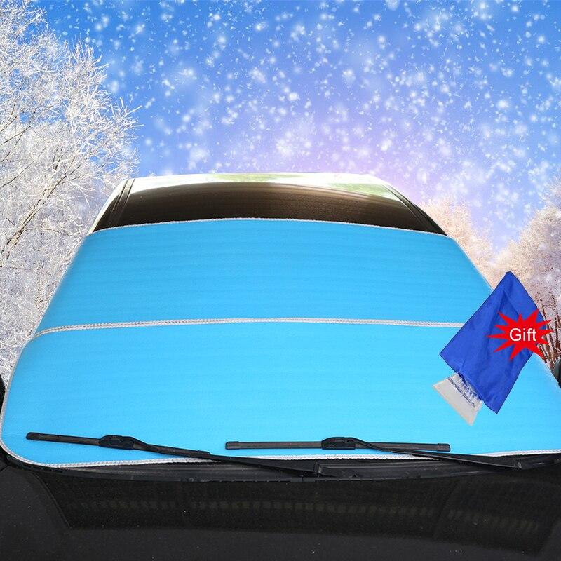 Parasol para coche, parabrisas, protector de nieve, parasol azul, 195x95cm, lámina de aluminio anti-uv con regalo, pala de nieve, accesorios para coche