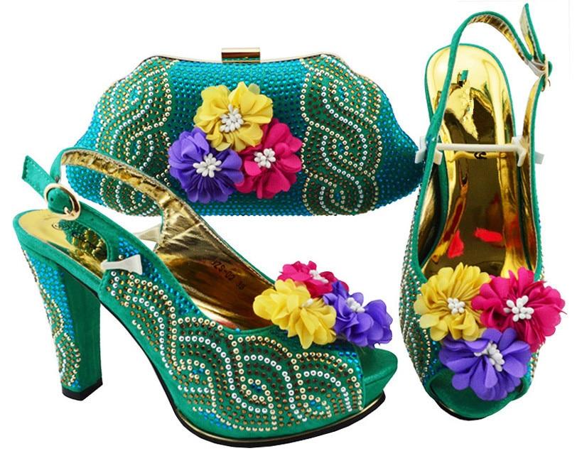 Popular teal green high heel pump shoes matching handbag sets with nice flower decoration JZS-02, many color