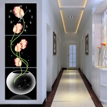 5d diy 샴페인 로즈 다이아몬드 페인팅 벽시계 장식 꽃 전체 라운드 드릴 크로스 스티치 시계 다이아몬드 모자이크 자수