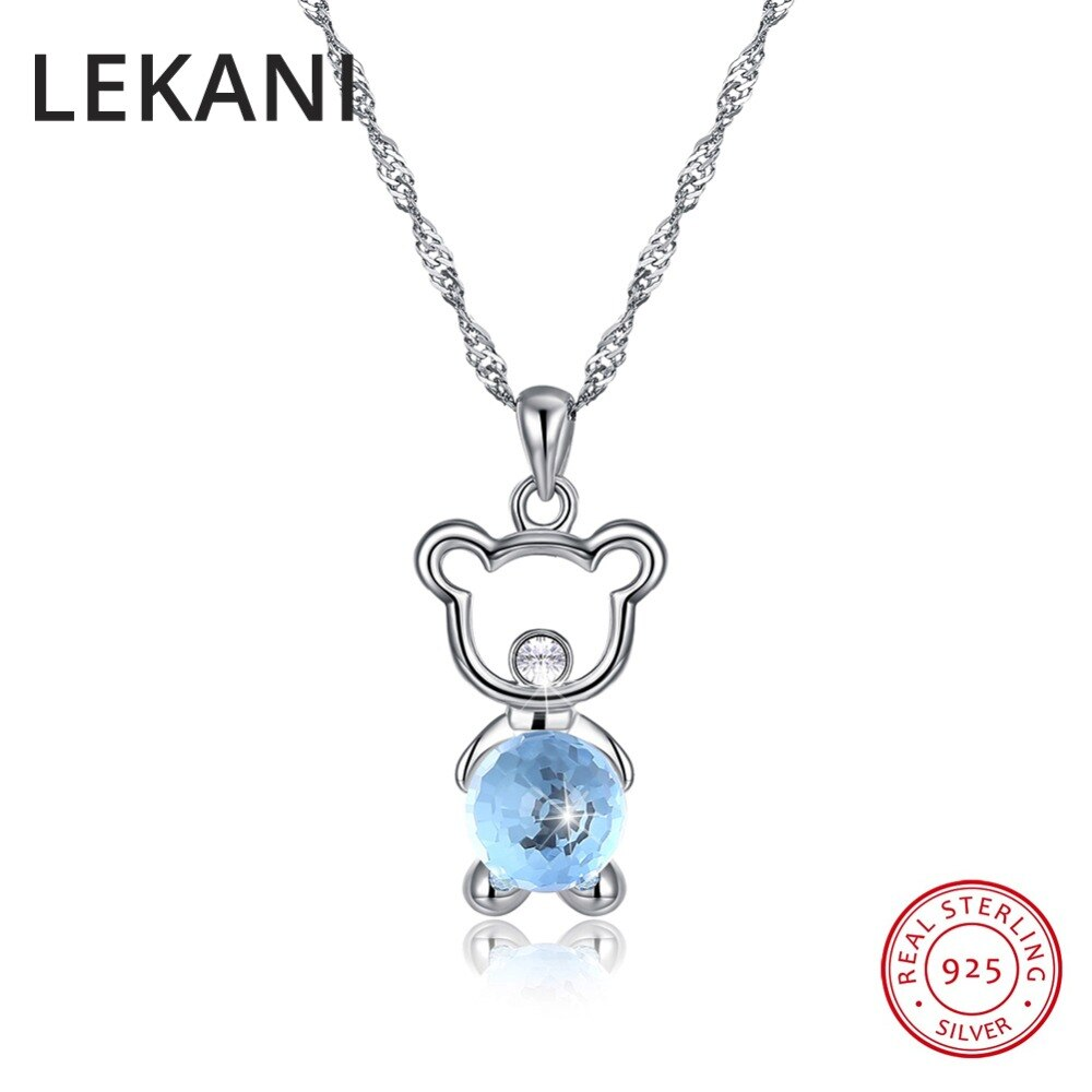 LEKANI cristales de SWAROVSKI Animal joyería fina colgante oso bonito collares para mujeres niñas regalos accesorios de plata Real 925