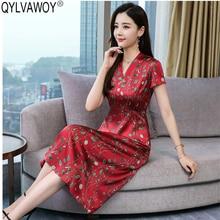 Été 100% soie robe femmes vêtements 2020 Vintage coréen rouge Midi robe florale élégant dames robes Vestidos NKL8902 MY2866