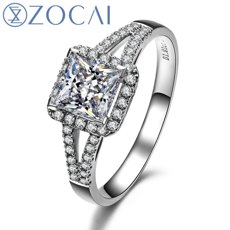 Zocai halo split shank real 1.3 ct certificado D-E/vs diamante anel de noivado princesa corte 18 k ouro branco w03185