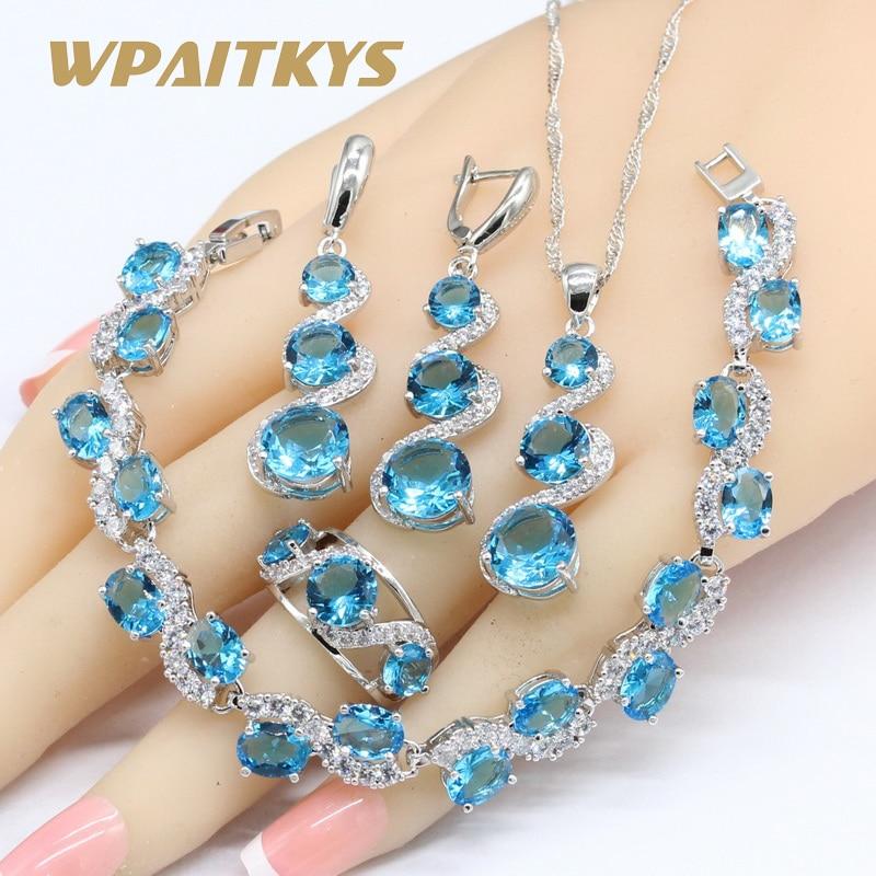 Set de joyería azul cielo blanco Color plata para mujer pulsera pendientes largos COLLAR COLGANTE anillos caja de regalo gratis