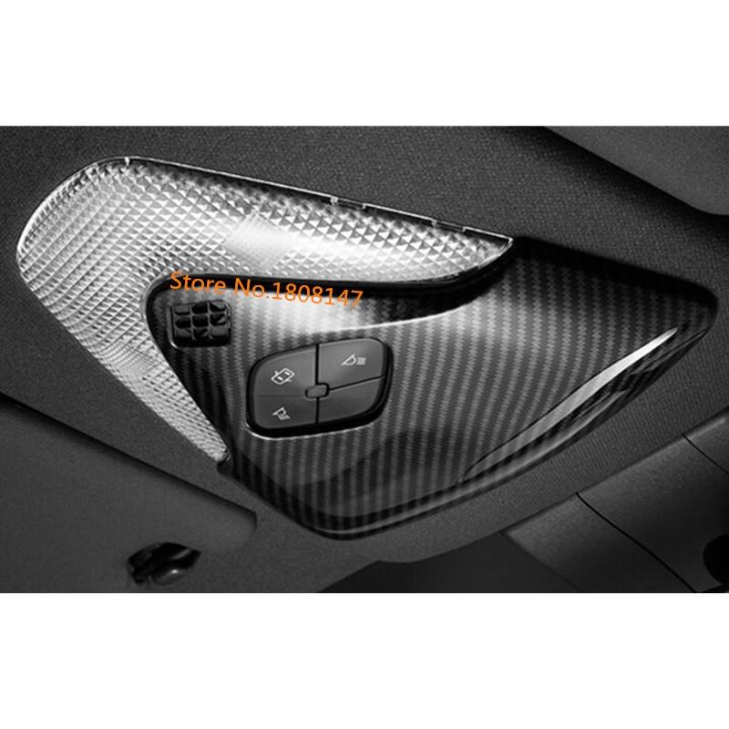 For TOYOTA C-HR CHR 2017 2018 2019 2020 Carbon Fibre Head Front Read Reading Roof Button Switch Light Lamp Frame Trim Hoods Part