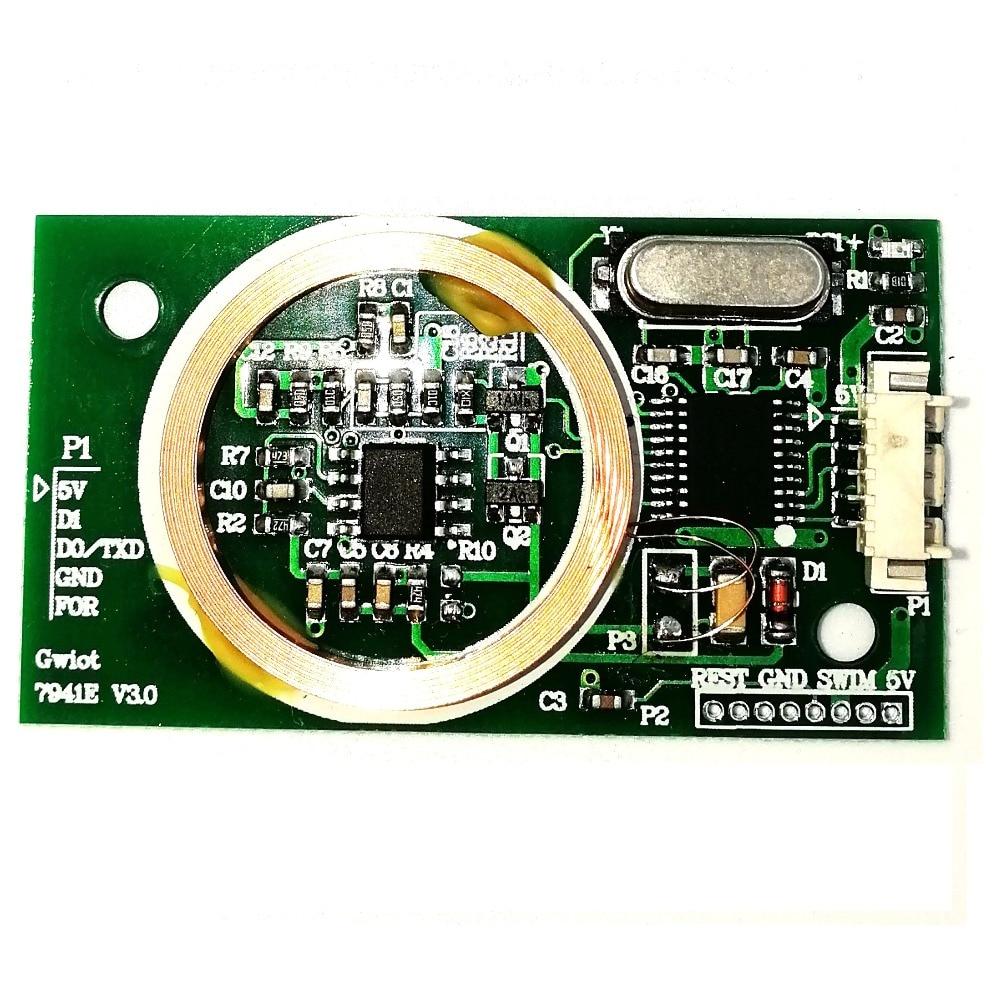 Lector de tarjetas ID con módulo integrado de 125khz para control de acceso de estacionamiento lector de tarjetas de asistencia WG26/34 o puerto serial/Uart