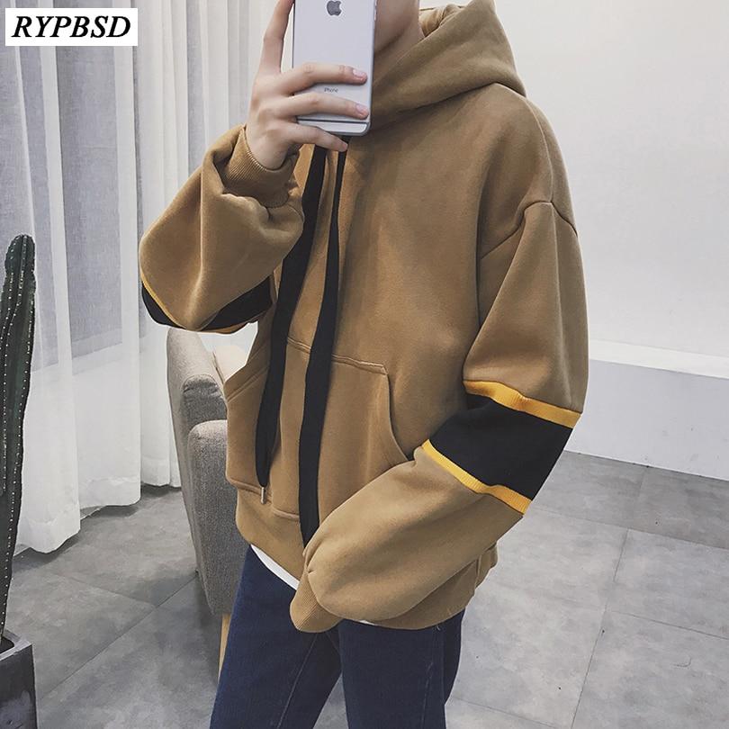 Autumn Hoodies Men Hooded High Street Pullover Fashion Casual Hip Hop Streetwear Sweatshirt Pocket