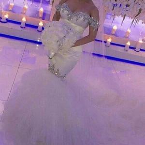 Luxury Crystal Beaded Mermaid Wedding Dress Off the Shoulder Bridal Gown Vestido De Noiva Factory Custom Made Dresses