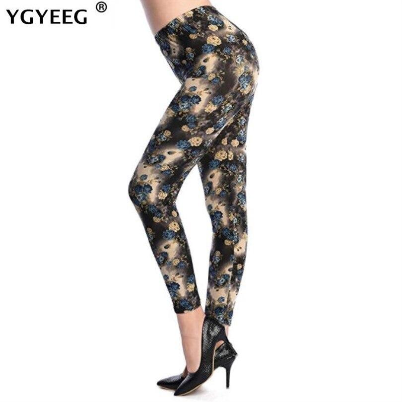 Женские леггинсы с высокой талией YGYEEG, желтые тонкие брюки с цветочным принтом и орхидеей, 2019