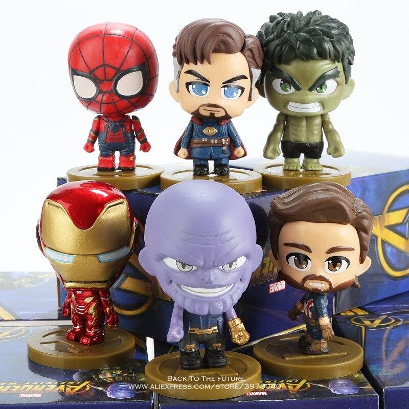Фигурки героев мультфильма «Дисней Марвел», «Железный человек», «Hulk Thanos Doctor Strange 6 style Q Version»