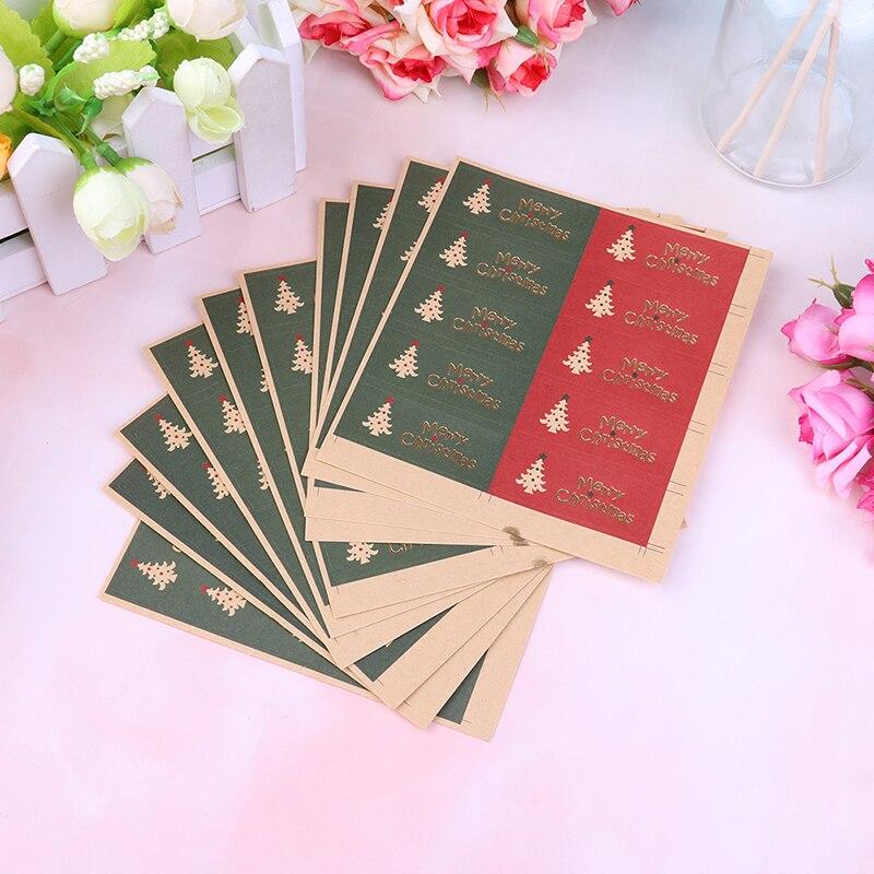 100 unids/set árbol bronceador Feliz Navidad Etiqueta de sello de regalo pegatinas para X-mas caja de dulces embalaje bolsa Decoración