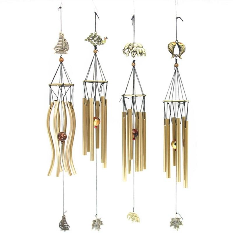 Decoración del hogar artesanías bendición suerte campanas de viento Retro cobre campanas de viento Metal 6 tubo a prueba de herrumbre Iglesia