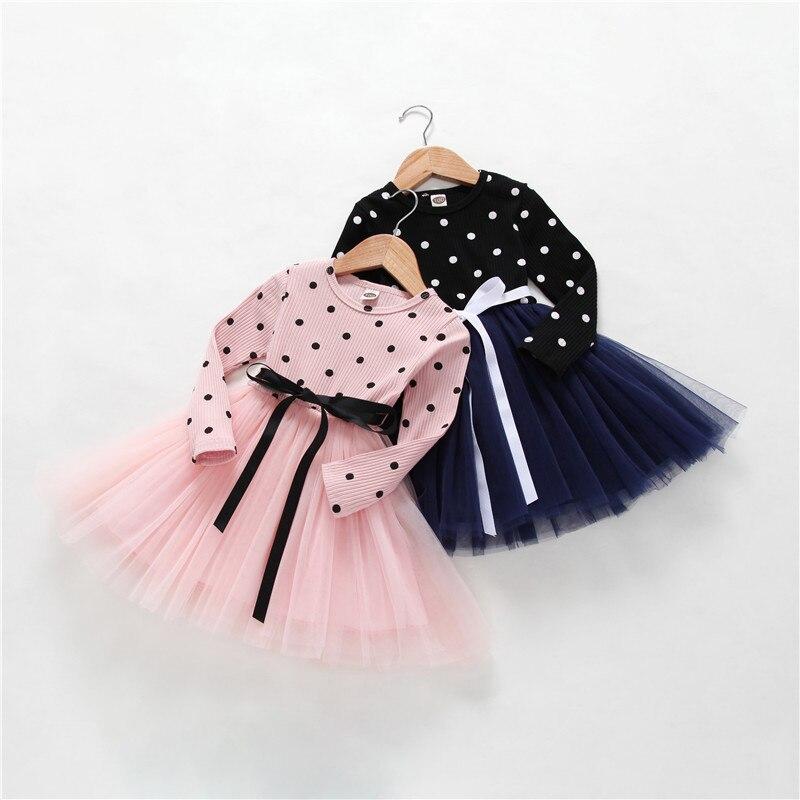 Vestido de niñas nuevo primavera otoño Gils vestido de princesa edición coreana niños vestidos de manga larga para niñas bebé niñas fiesta vestido de encaje