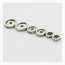 100 pcs/lot tibétain argent métal entretoise Rondell perle 6 8 10mm avec grand trou Fit bricolage à la main Bracelet fabrication de bijoux résultats