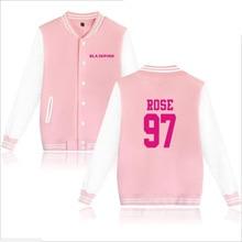 Korean Kpop blackpink Baseball Uniform Jacket Coat Women Harajuku Sweatshirts Winter Fashion Hip Hop Album Pink Hoodie Outwear