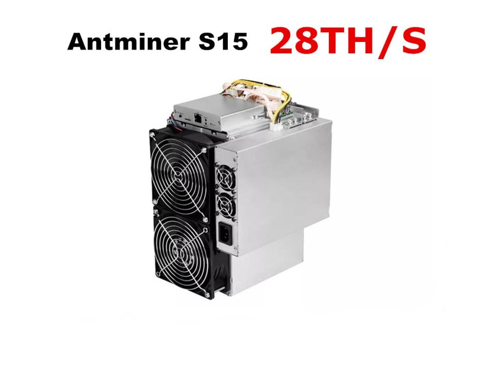 BITMAIN 7nm BTC BCH Miner مستعمل AntMiner S15 28T مع PSU أفضل من S9 S9j Z9 Mini WhatsMiner M3 M10