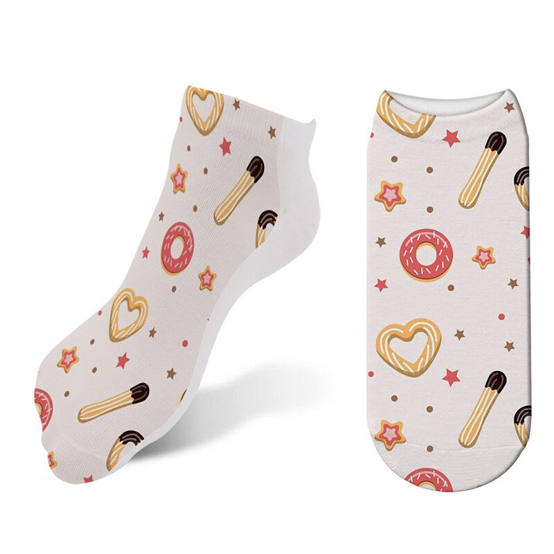 New Women Hosiery 3D Printing Cookies Ice Cream Socks Rainbow Candy Pattern Low Cut Ankle Sock Ice Cream Lollipop Socks