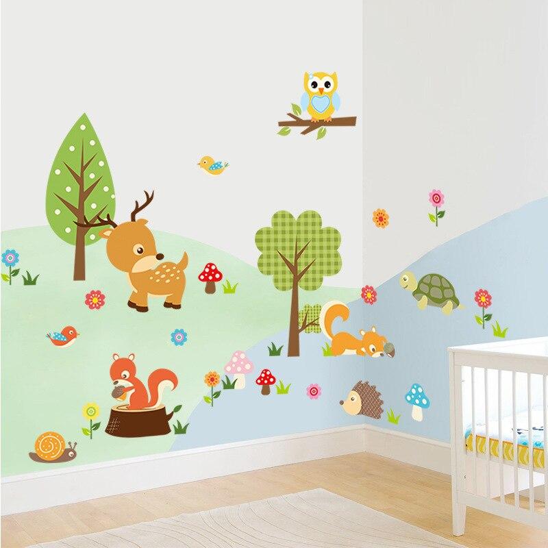 Милые наклейки с животными на стену, животные, тигр, Сова, черепаха, дерево, лес, виниловые художественные наклейки на стену, цветные наклейки из ПВХ, декор для детской комнаты