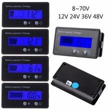 8-70V azul LCD plomo ácido Indicador de capacidad de batería de litio voltímetro calibre 2 en 1 DENG