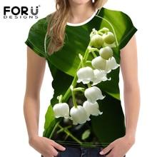FORUDESIGNS 3D fleur t-shirt Convallaria majalis imprimer femmes mince hauts culture dames musculation élastique t-shirt vêtements féminins